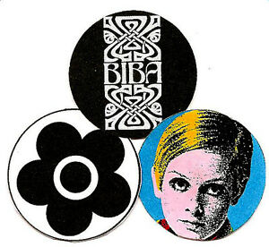 BIBA, MARY QUANT & TWIGGY  BADGES. POP ART, MOD, 60's.