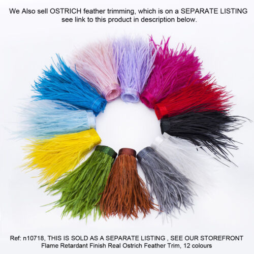 12 colours Neotrims REAL Feather Flame Retardant Trimming Fringe Satin Ribbon