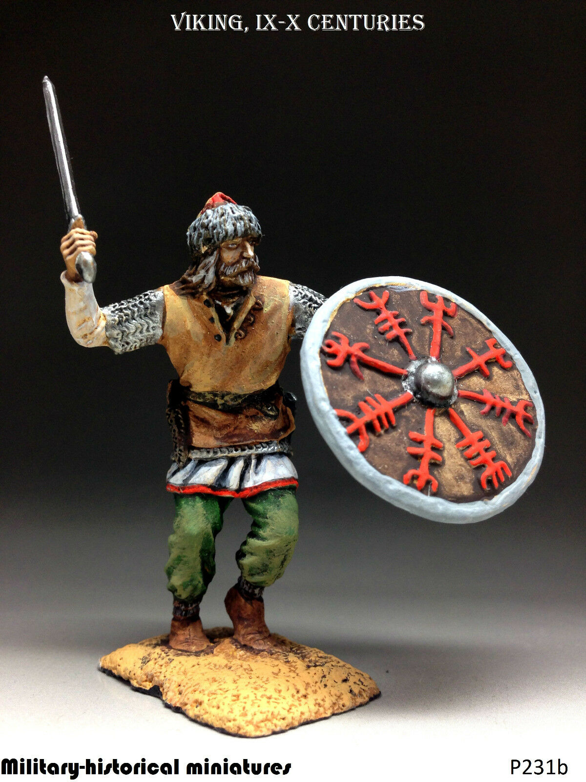 Viking Tin toy soldier 54 mm, figurine, metal sculpture HAND PAINTED