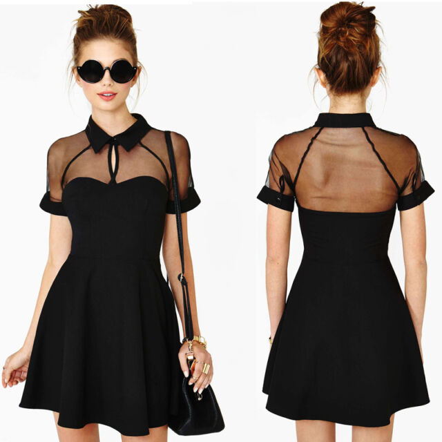 Sexy Women Mini Dress Mesh Cutout Sweetheart Neckline Short Sleeve Skater Dress