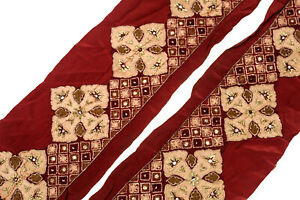 Vintage-Indian-Sari-Border-1Yd-Women-Antique-Sari-Trim-Ribbon-Embroidered-ST2518