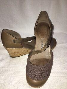 842582704730e5 NWOT Teva Women s Riviera Brown Mary Jane Leather Cork Wedge Sandal ...