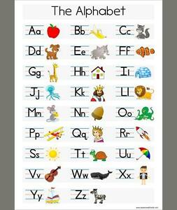 A3 Learn The Alphabet - White Childrens A3 Wall Chart Educational Childs Poster 756970575450