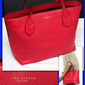 85791e9128e7 Image is loading MARC-JACOBS-Ladies-RED-GRAIN-LEATHER-TOTE-BAG-