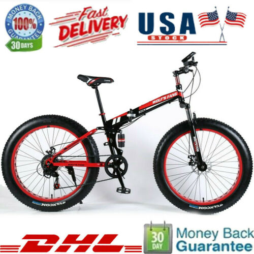 """26/"""" Fat Tire Snow Mountain Bike 21-Speed Bicycle High-Tensile Aluminum Frame MTB"""