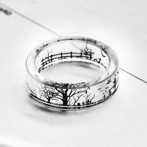 eg women clear resin ring bat tree gravestone halloween finger ring