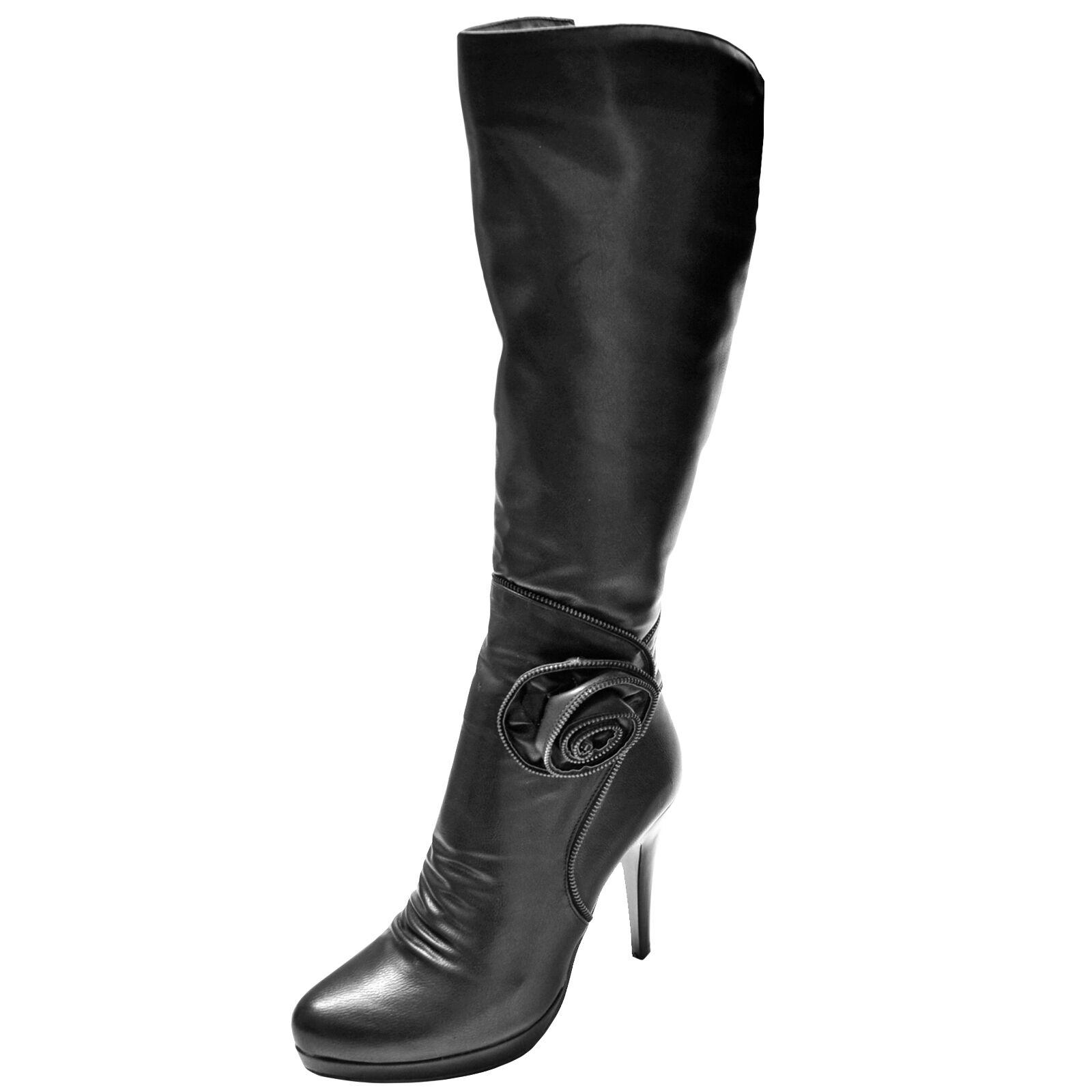 Nuevo para mujer zapatos de moda de la rodilla De Taco Alto botas Alta Eje cremallera Negro Invierno