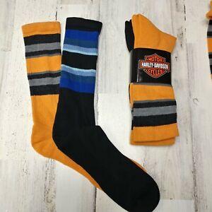 2 Pair Harley Davidson Merino Wool Crew Socks Men/'s Large Blue Black Striped
