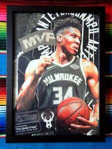 Framed-GIANNIS-ANTETOKOUNMPO-Milwaukee-Bucks-NBA-Poster-62cm-x-44-5cm-x-3cm