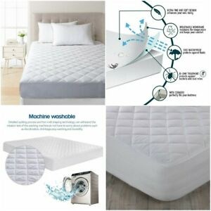 100-Cotton-Waterproof-Quilted-Mattress-Bed-Protector-Topper-Fitted-Sheet-Cover