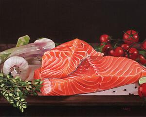 "Raw salmon still life, Original artwork oil painting on canvas panel, 16''x20"""