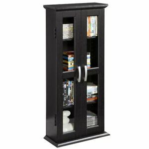 Details About Bookcase With Glass Doors Wood Bookshelf Furniture Living Room Storage Cabinet