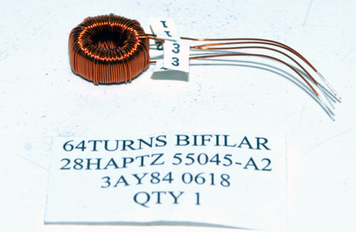 50 TOROID TRANSFORMERS 14.5mm OD 64 TURNS BIFILAR 28 AWG HAPT 200°C INSULATION