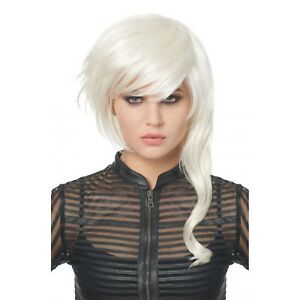 Women-039-s-Fantasy-Girl-Costume-Wig-White-Futuristic-Punk-Rocker-Festival-Adult