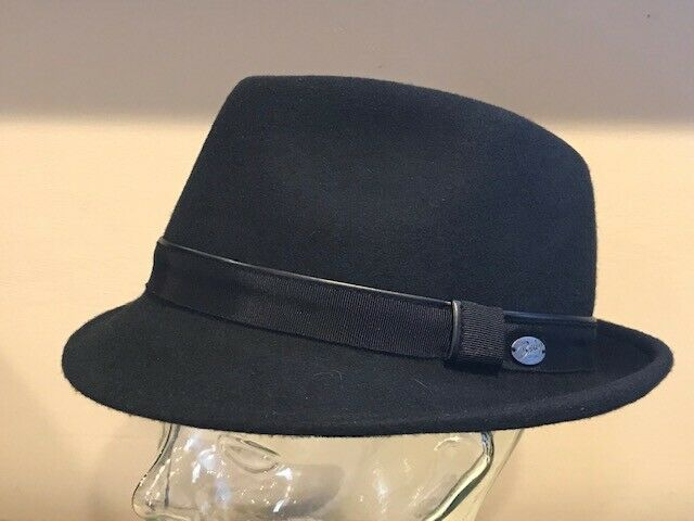 "$60 Bailey Of Hollywood /""IKE/"" Men/'s 100/% Wool Hat Trilby Fedora MEDIUM ~ BLACK"