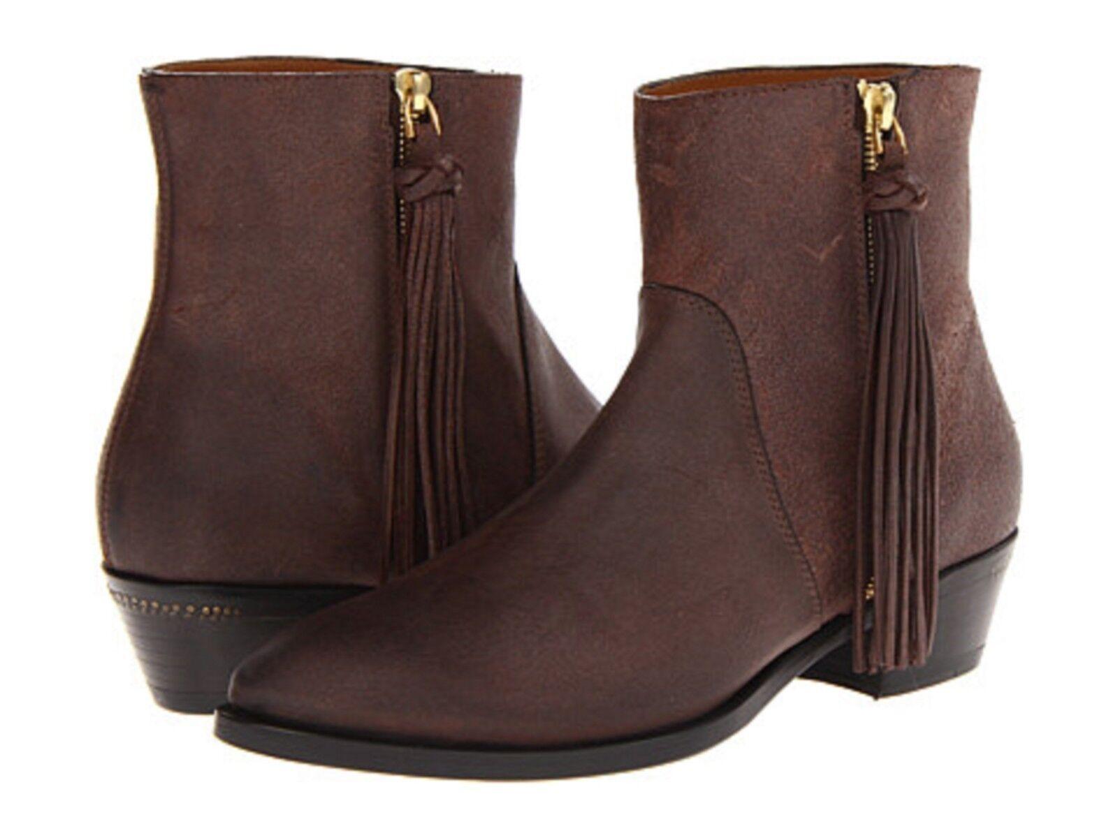 795 NEW RALPH LAUREN COLLECTION US 7.5 braun Suede Ninette Ankle Stiefel  BX