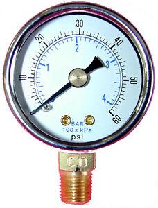 """Package of 4 Pressure Gauge 1.5/"""" Dial 1//8/"""" NPT Standard Back Mount 0-30 PSI"""