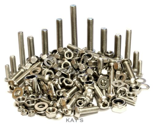 A2 Stainless Steel Button Head Screws/Bolts + Nuts & Washers 300 Pack M5, M6, M8