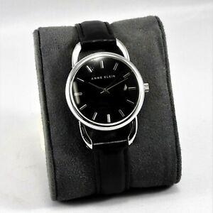 ANNE-KLEIN-Unique-Design-Women-Black-Watch-Leather-Strap-AK-1207-New-Battery