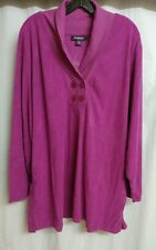 ROAMAN'S Womens PLUS 3X Shawl Collar Double button Sherpa Fleece Tunic Knit Top