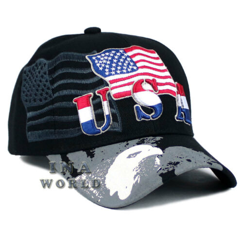 USA American hat Embroidered Flag cap Curved bill Baseball cap Black