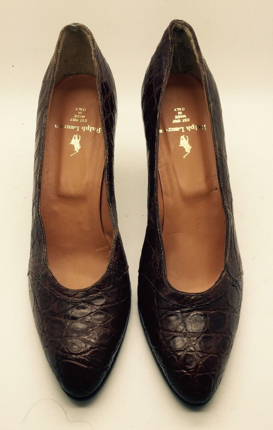perfezionare RALPH LAUREN Marrone Authentic Authentic Authentic Crocodile Skin Pumps Heels 7.5 AA  NEW     acquisti online