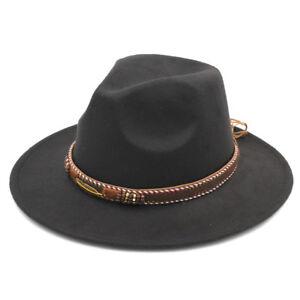 Men s Panama Hat Fedora Trilby Costume Cap Stiff Wide Brim Wool Punk ... 58f8bf76083