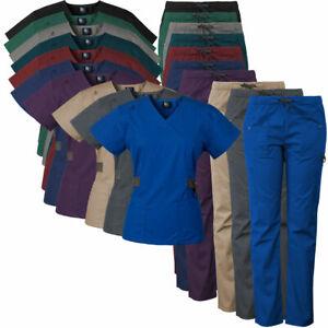 Medgear-12-Pocket-Women-039-s-Scrub-Set-with-Silver-Snap-Detail-amp-Contrast-Trim-7897