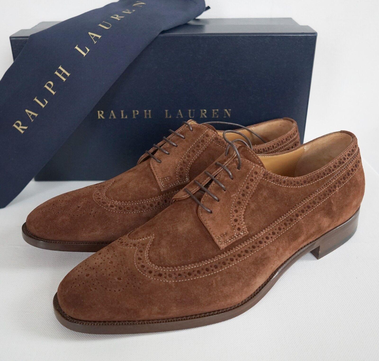 5 RALPH LAUREN BANSTEAD Brown Suede WINGTIP Dress Shoes US-10D EUR-43 Scarpe classiche da uomo