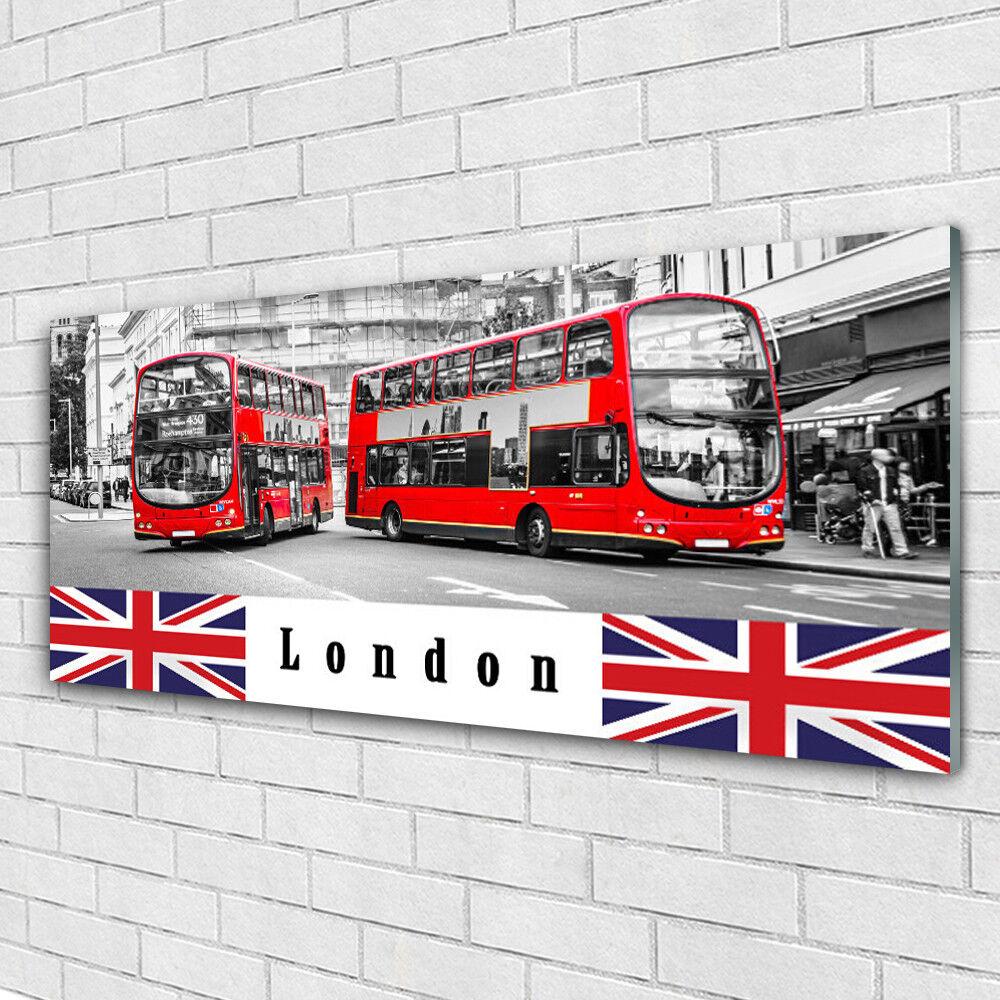 Impression sur verre acrylique Image tableau 125x50 Art Londres Bus
