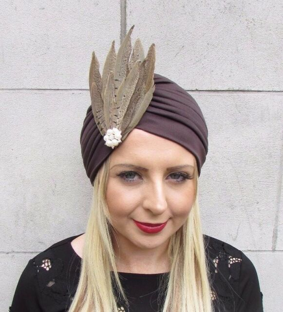 Brown Cream Pheasant Feather Turban Headpiece Fascinator 1940s Hair Hat 3627 2c4cddcd8f7