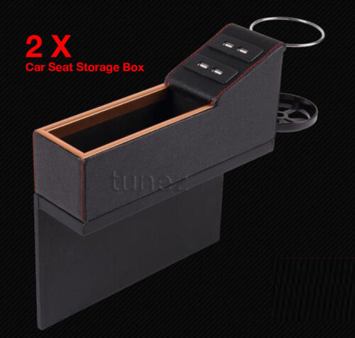 Car Accessory Storage Box Car Seat Organizer Cup Holder USB Ports Phone Charger