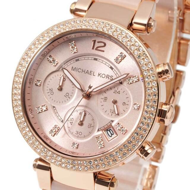 Michael Kors MK5896 Parker Blush Rose Gold-Tone Chrono Ladies Watch MK5896