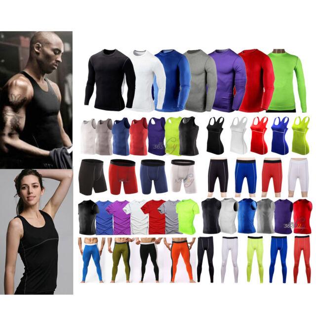 Mens Women Sports Compression Base Layers Tops Tight T-Shirt/Vests/Pants Shorts