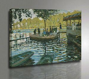 Quadro Claude Monet La Grenouillere Stampa su Tela Canvas con Vernice Pennellate