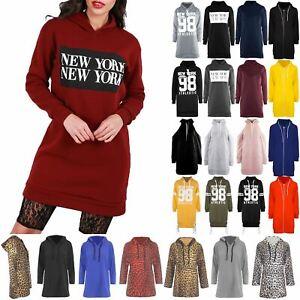 prix incroyable couleurs délicates plutôt sympa Détails sur Débardeur femme New York à Capuche Long Sweat Polaire Pull Pull  Baggy Robe- afficher le titre d'origine