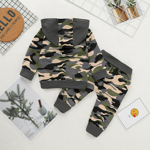 Toddler Infant Baby Boy Kid Camo Hoodie Long Pants Outfits Clothes Set Tracksuit