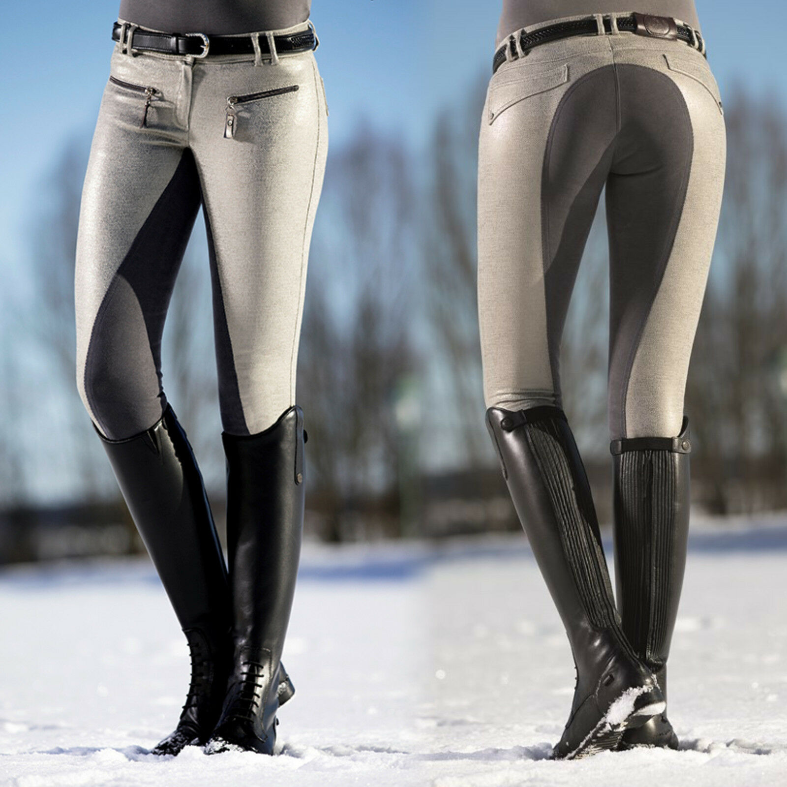 HKM Karina Garrelli Scotland Riding Breeches Stylish 3 4 Alos Trimming (9584)