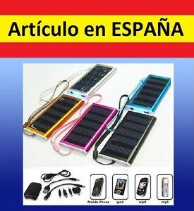 CARGADOR portatil SOLAR emergencia usb mp3 mp4 movil iphone cable...