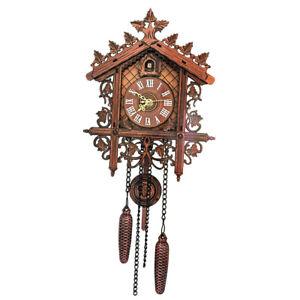European Vintage Cuckoo Clock w/ Pendulum Hand-carved Wood Wall Clock Room Decor