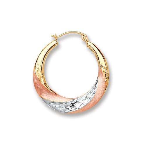 Real 9ct Yellow White /& Red Gold Round Fancy Hoops Womens Earrings Gift Boxed