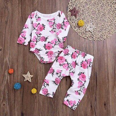 2PCS Newborn Infant Baby Girl Outfits Clothes Set Romper Bodysuit+Pants Leggings