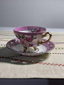 Vintage Luster Ware Porcelain Tea / Coffee Cup & Saucer Pink Floral, Gold Trim
