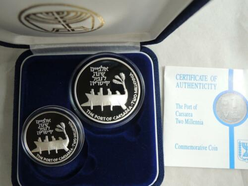 2000 YEARS OF PORT OF CAESAREA PR+BU SILVER COINS COA 1995 ISRAEL OLD SHIP