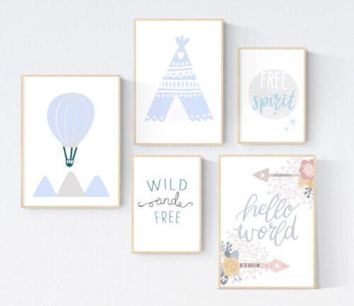 5 Adventure Teepee Hot Air Balloon Prints Nursery Wall Art Room Pictures