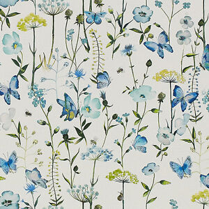 4e5e5ad426 Image is loading Fibre-Naturelle-Cornflower-Floral-Print-Fabric-100-Cotton-