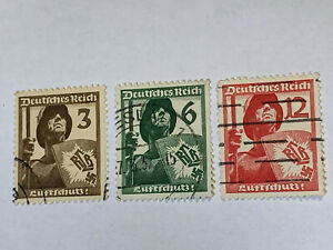 Germany-WWII-Hitler-Stamps-1937-SC-481-483-3pf-6pf-12pf-Air-Protection-League