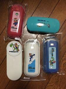 Details about Super Mario Bros vintage glasses plastic case set japan  nintendo