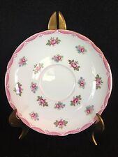 "Shelley pink rose edged fine English bone china saucer.  5 5/8"" diameter"