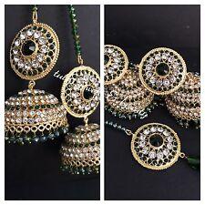 Indian weddings earrings jewellery.bollywood Jhumka Tika Gold Green Beads